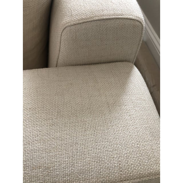 Off White Linen Sectional Sofa With Ottoman For Sale In Philadelphia - Image 6 of 12
