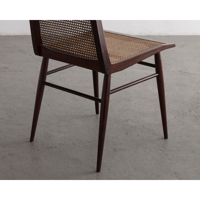 Mid 20th Century Set of Eight (8) Dining Chairs in Rosewood With Cane Seat and Back For Sale - Image 5 of 6