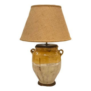 Antique French Yellow Glazed Confit Pot Lamp With Burlap Shade For Sale