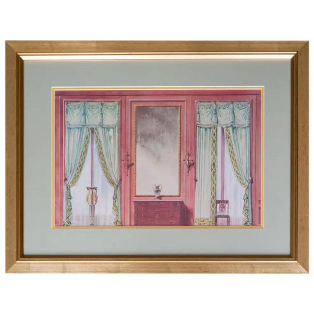 Set of six antique French interiors decor prints. Framed, circa 1900-1919. In the style of Alexandre Serebriakoff.