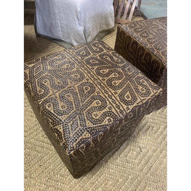 Pair of Borneo Mat Square Ottomans- These beautiful and unique ottomans are made of original hand woven mats found in...