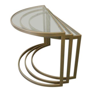 Vintage Mid-Century Modern Glass and Metal Nesting Tables - Set of 3 For Sale