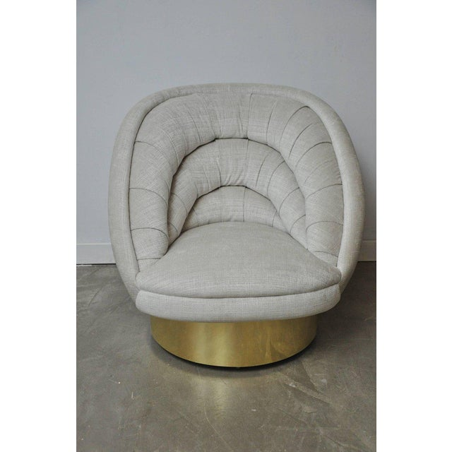 Vladimir Kagan Crescent Swivel Chair on Brass Base For Sale In Chicago - Image 6 of 6