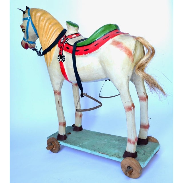 "1950-60s Mexican Folk Art Paper Mache Wood Pull Horse 27""h For Sale In Los Angeles - Image 6 of 7"