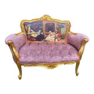 New French Louis XVI Style Settee in Purple/Pink Velvet and Gobelin. Made to Order For Sale