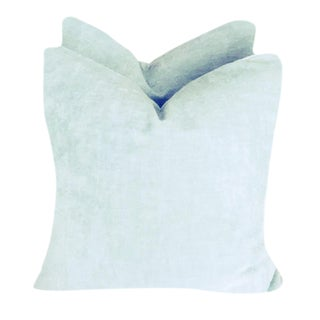 Ice Blue Linen Velvet Pillows - A Pair For Sale