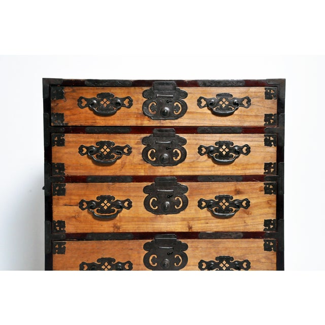 Early 20th Century Japanese Two Pc. Tansu Chest With Hand Forged Hardware For Sale - Image 5 of 13