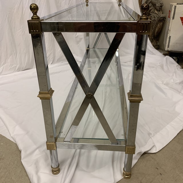 French Maison Jansen Style Chrome Brass Console For Sale - Image 3 of 12