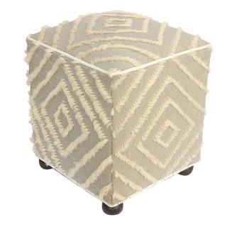 Arshs Verdell Lt. Gray/Ivory Morrocan Wool Upholstered Handmade Ottoman