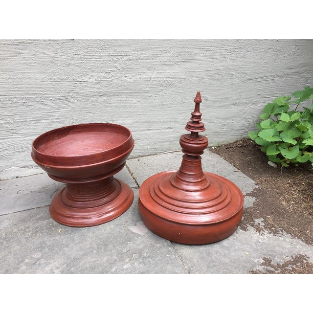 Asian Oversized Burmese Terra Cotta Colored Wood Offering Urn - Image 5 of 8