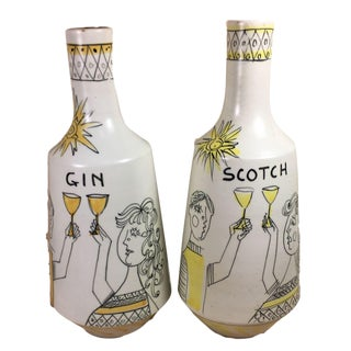 Alvino Bagni Raymor Spirit Decanters - A Pair For Sale