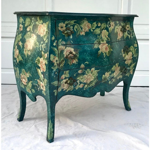 Wood 1970s Vintage French Hand-Painted Bombe 3-Drawer Chest For Sale - Image 7 of 10