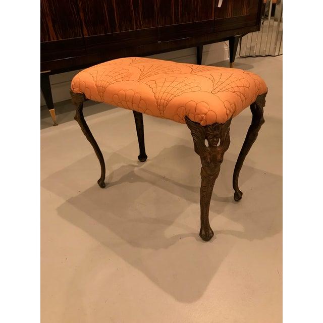 Beautiful Art Deco metal vanity bench. Having incredible female metal legs motif.