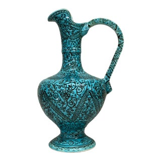 1950s Mid Century Moroccan Style Turquoise Ceramic Wine Ewer For Sale