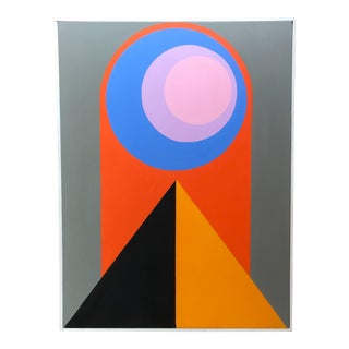 Colorful Framed Original Hard Edge Abstract Painting on Stretched Canvas by J. Marquis For Sale