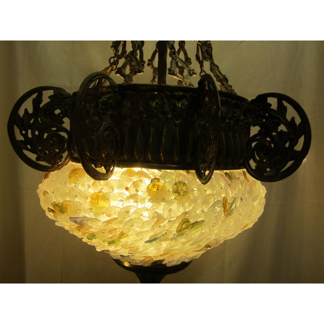 Early 20th Century Art Nouveau Italian Glass and Bronze Floral Chandelier For Sale - Image 4 of 11