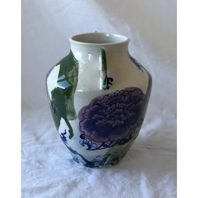 2010s Contemporary Ceramic Chrysanthemum Vase With Handles For Sale - Image 5 of 7