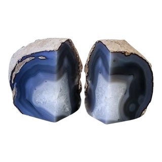 Blue & White Crystal Geode Bookends - A Pair