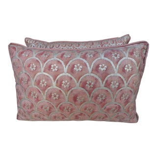 Blush & Silvery Gold Fortuny Pillows - a Pair