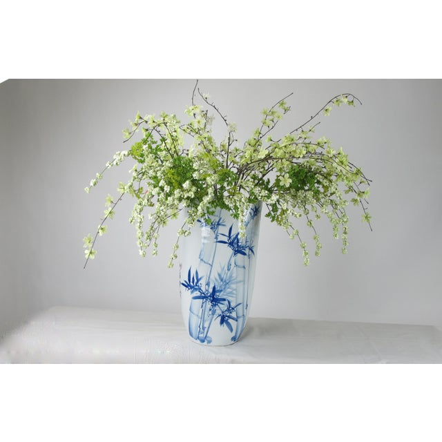 Ceramic Chinoiserie Blue & White Porcelain Vase For Sale - Image 7 of 8
