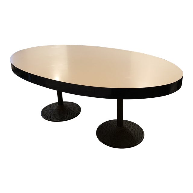 Contemporary ICF Blue & White Oval Table With Metal Base For Sale