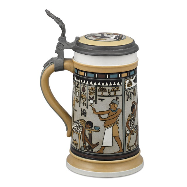 This Mettach beer stein by Villeroy & Boch of Germany is encased by a stunning Egyptian-inspired motif. The charming piece...