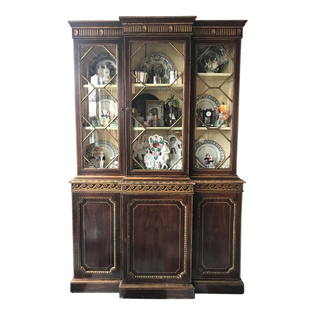 19th Century George III Painted Gilt Breakfast Bookcase For Sale