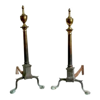 Late 1700s American Chippendale Andirons - A Pair