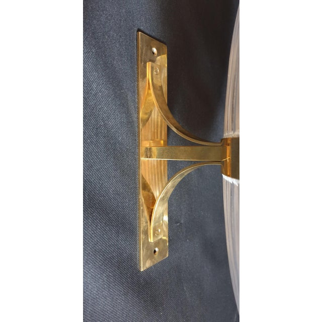 Large Mid-Century Modern Clear Glass & Brass Italian Sconces or Lanterns - a Pair For Sale - Image 9 of 12