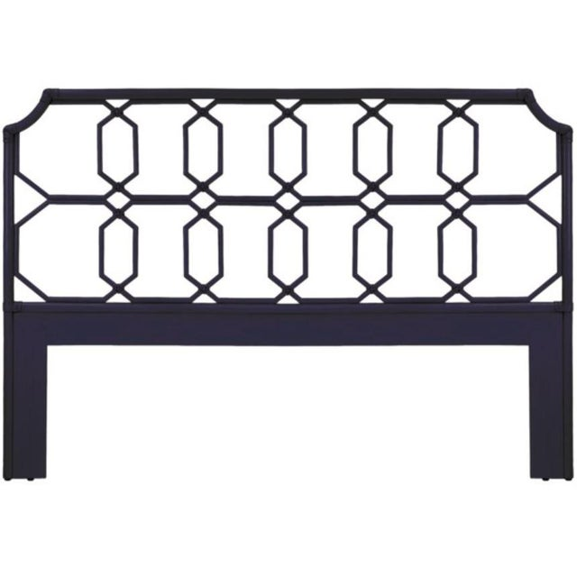 The Regeant Headboard features leather-wrapped rattan joints and a motif inspired by English garden pavilions, and is...