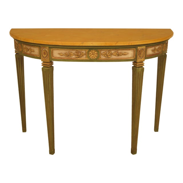 French Louis XVI Style Paint Decorated Console Table For Sale