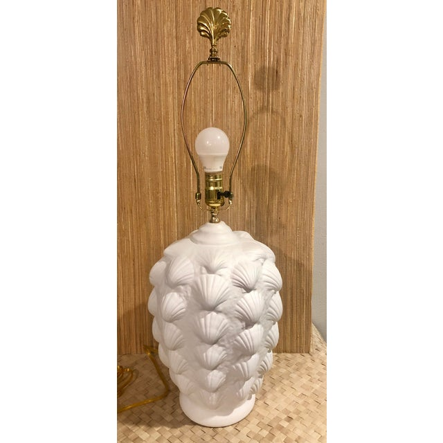 Vintage Clam Shell Plaster Lamp For Sale - Image 4 of 6