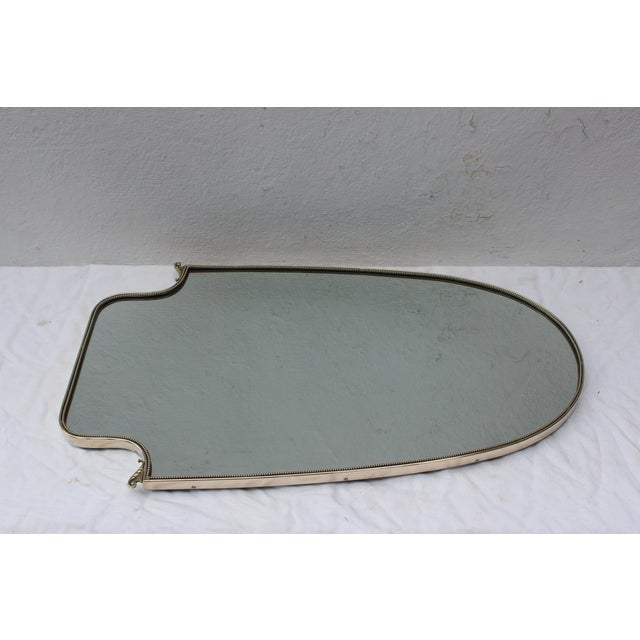 Italian Large Italian Brass Shield Form Mirror For Sale - Image 3 of 7