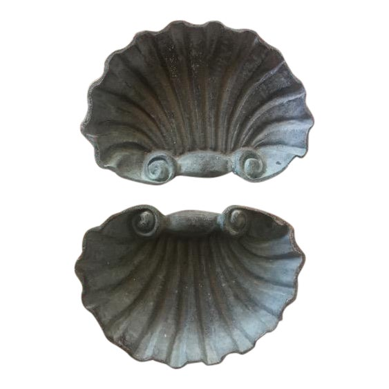 Metal Scallop Shell Dishes - a Pair For Sale