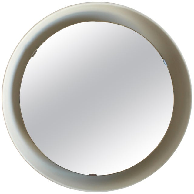 White Rare Illuminated Metal Mirror by Arne Jacobsen for Louis Poulsen For Sale - Image 8 of 8