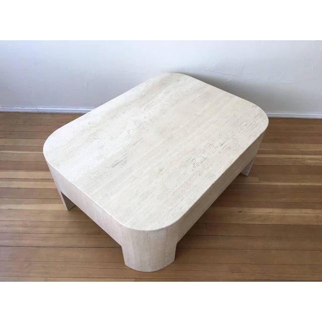 Polished Italian Travertine Cocktail Table For Sale - Image 4 of 9