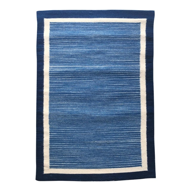 Hand Dyed Mexican Indigo Blue Wool Rug - 1′11″ × 2′9″ For Sale