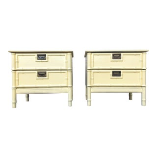 Campaign Faux Bamboo Nightstands - a Pair For Sale