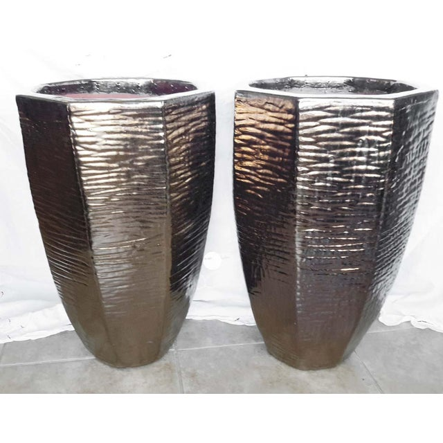 Architectural Indoor Outdoor Oversize Planters - A Pair - Image 4 of 7