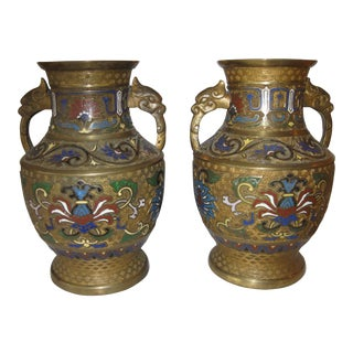 Antique Champleve Bronze Vases - A Pair