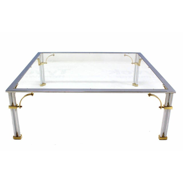 Large Square Mid-Century Modern Brass Chrome and Glass Coffee Table For Sale In New York - Image 6 of 9