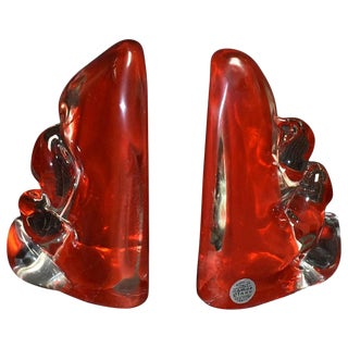 Pair of Camer Murano Glass Bookends For Sale