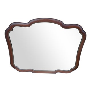 Vintage Hand Carved X-Large 4 Ft. Mahogany Wall Mirror For Sale
