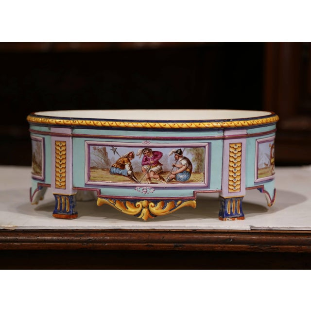 Decorate a dining room table with this elegant antique centerpiece. Crafted in France, circa 1920, the ceramic jardinière...