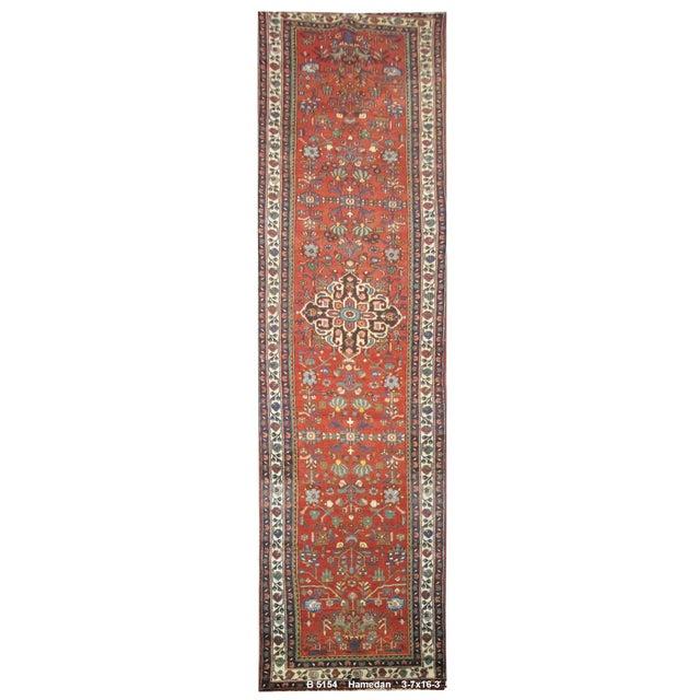 Vintage Persian Hamedan Rug - 3'7''x16'3'' - Image 1 of 2