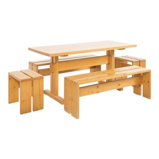 Les Arcs Pine Dining Table Set by Charlotte Perriand