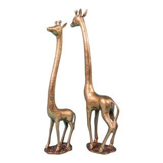 Vintage Pair of Solis Brass Giraffes For Sale