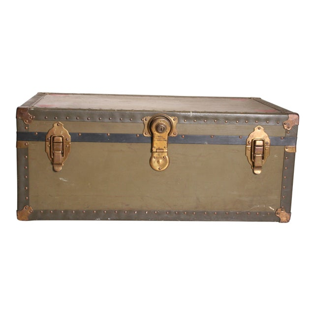 Vintage Industrial Green Military Foot Locker Trunk with Tray - Image 1 of 11