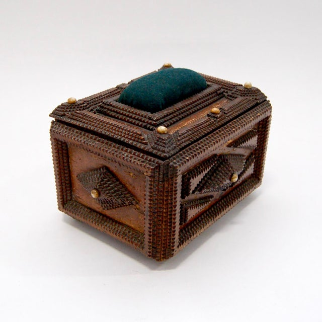 Antique French Tramp Art Sewing Box with Raised Velvet Green Pin Cushion For Sale - Image 4 of 10