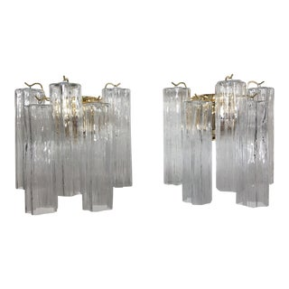 "Murano Glass ""Tronchi"" Wall Sconces - a Pair For Sale"